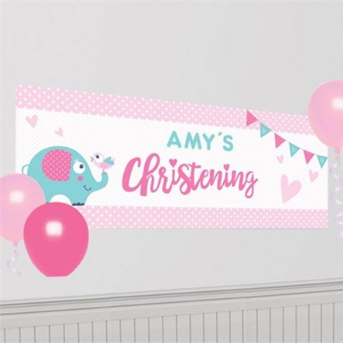Christening Day Pink Personalised Banner (each)